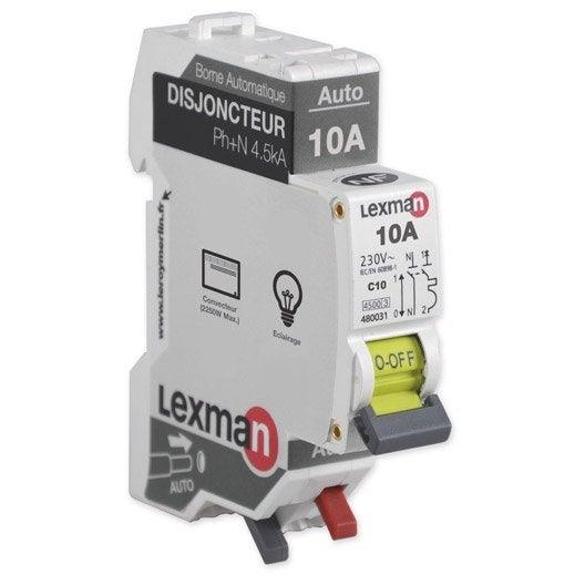 Disjoncteur phase neutre lexman 10 a leroy merlin - Comment brancher un disjoncteur ...