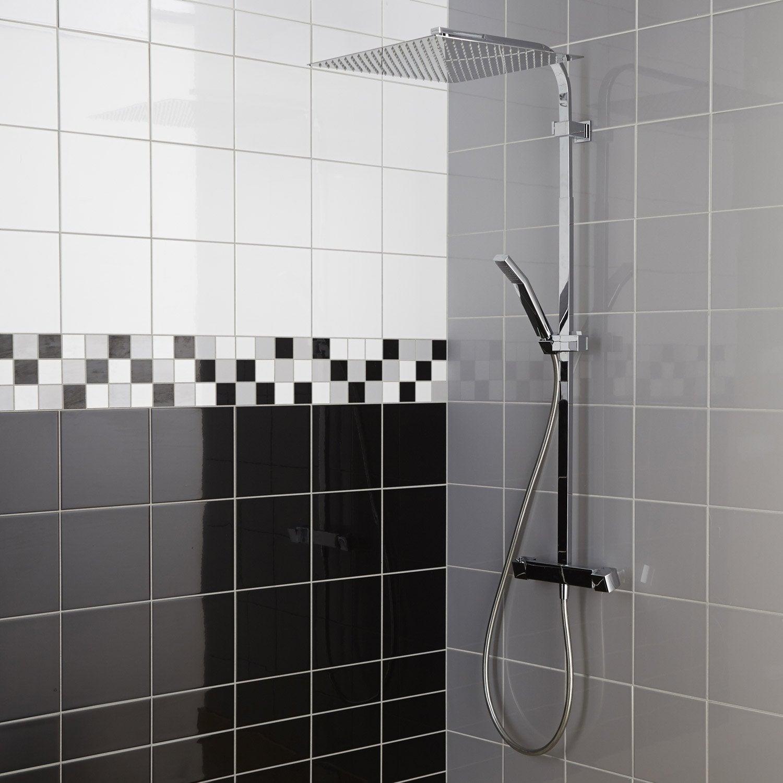 Faïence mur noir-noir n°0 brillant l.10 x L.20 cm, Astuce
