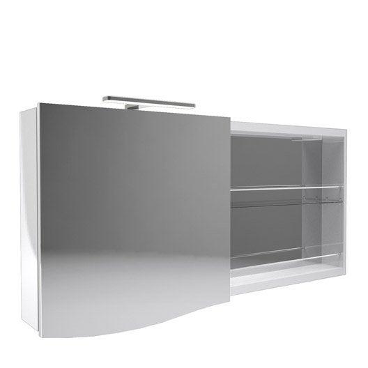 armoire de toilette lumineuse l 130 cm blanc decotec. Black Bedroom Furniture Sets. Home Design Ideas