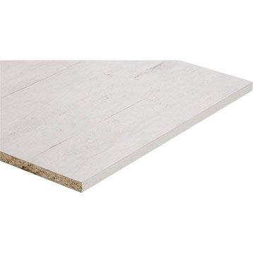 Tablette mélaminé planche usée blanche SPACEO, L.250 x l.60 cm x Ep.18 mm