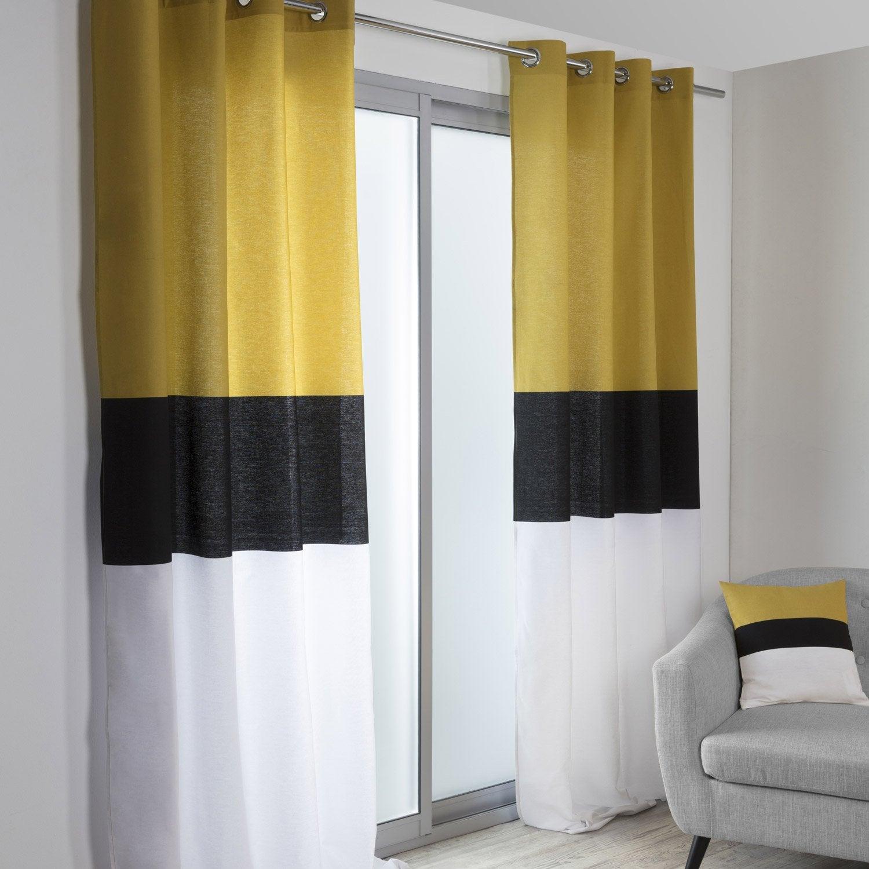 Rideau tamisant, Yellow, noir, blanc et jaune, l.140 x H.260 cm ...