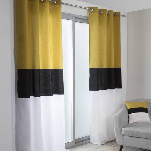rideau tamisant yellow noir blanc et jaune x h. Black Bedroom Furniture Sets. Home Design Ideas