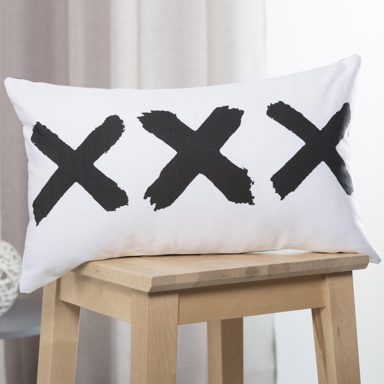 Coussin Tom, blanc et noir l.50 x H.30 cm