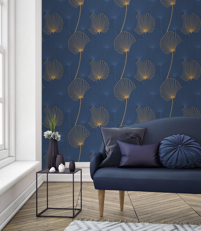 Papier Peint Deco Marine papier peint bleu foncé avec des détails or | leroy merlin