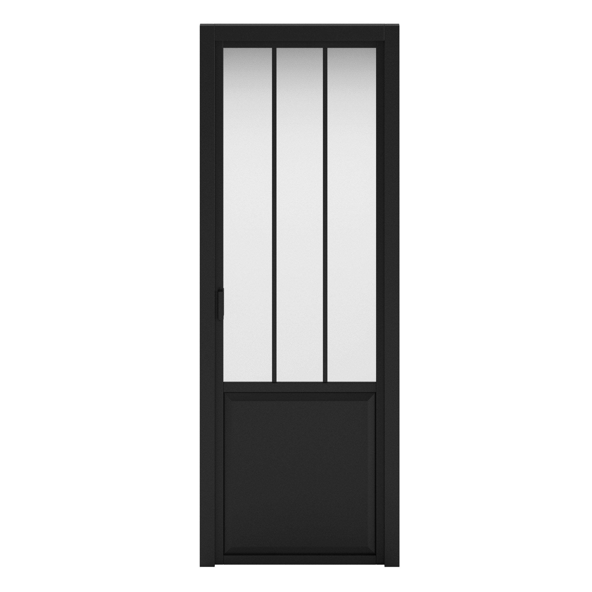 Bloc-porte fin de chantier atelier vitré Atelier noir, H.220 x l.73 cm, p. droit