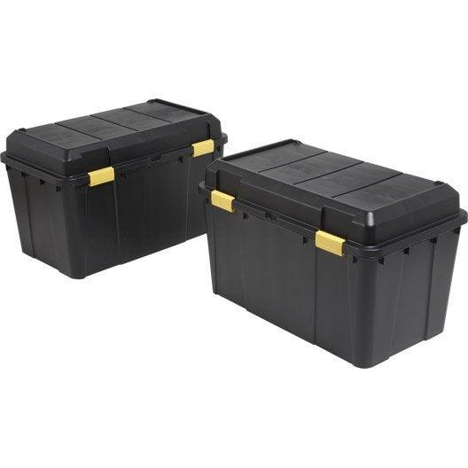 lot de 2 malles en plastiques 115 litres noires leroy. Black Bedroom Furniture Sets. Home Design Ideas