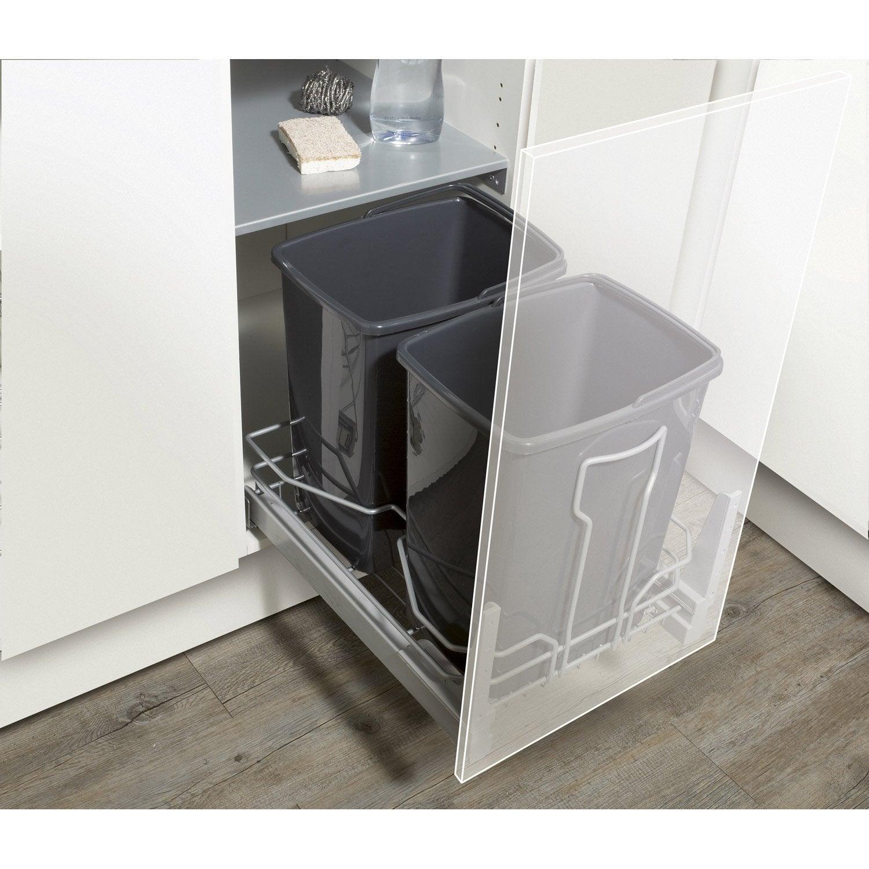 rangement coulissant 2 poubelles pour meuble cm delinia leroy merlin. Black Bedroom Furniture Sets. Home Design Ideas