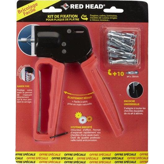 kit pince et chevilles en métal à expansion rhf red head, diam.8 x