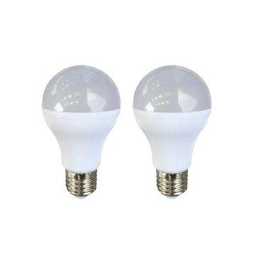 Lot de 2 ampoules standards LED 9W = 806Lm (équiv 60W) E27 3000K 150° LEXMAN