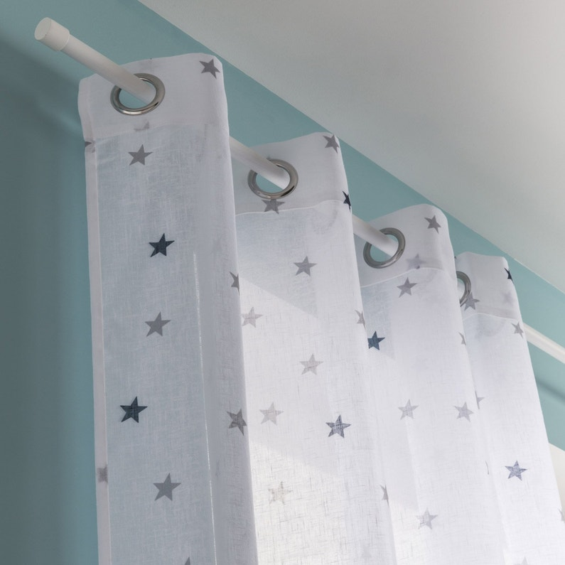 Voilage Tamisant Stars Bleu Et Blanc L135 X H260 Cm Inspire