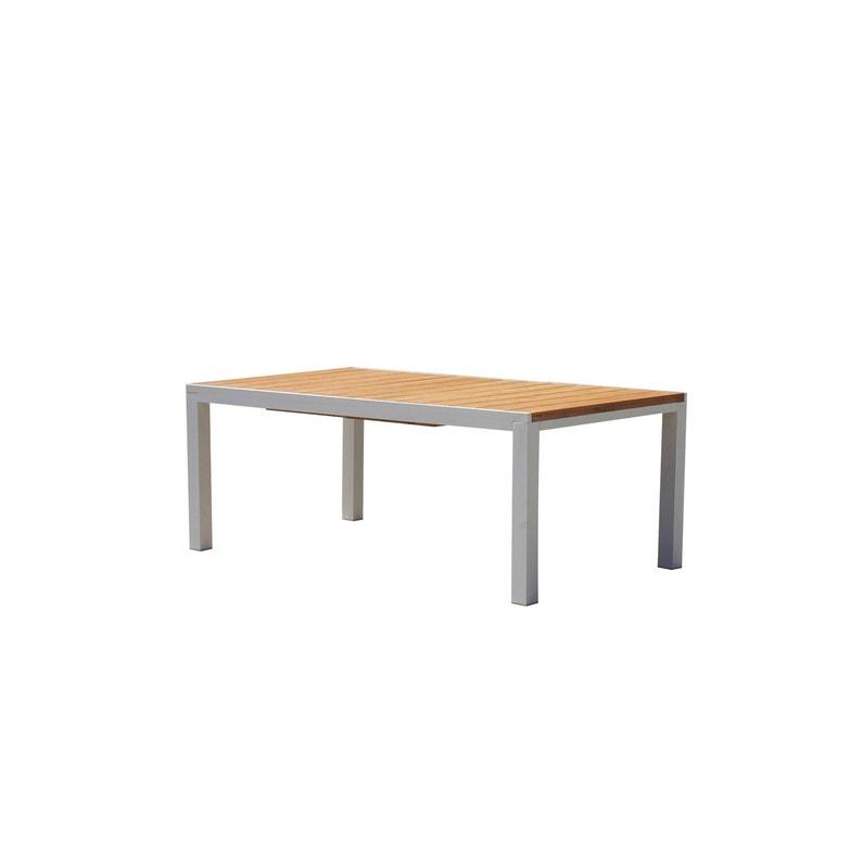 Table de jardin Eze rectangulaire blanc et brun 10 personnes   Leroy ...