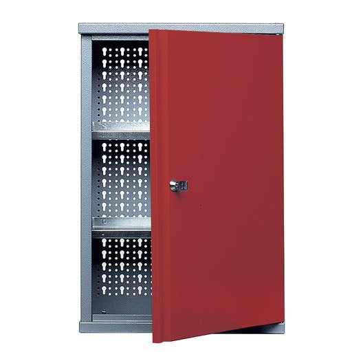 Armoire de rangement en m tal rouge kupper 40 cm 1 porte for Meuble porte verrouillable