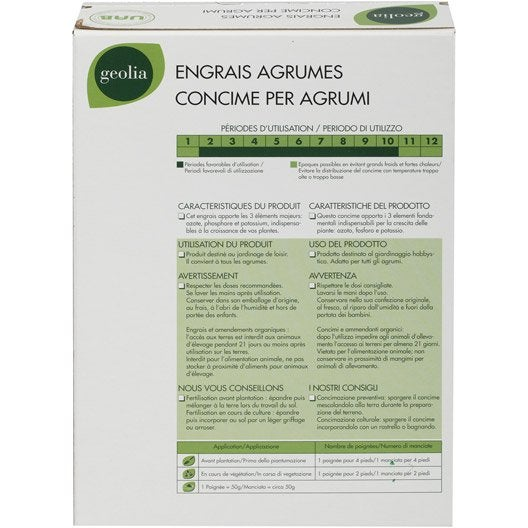 Engrais naturel agrumes GEOLIA 1kg 17 m²