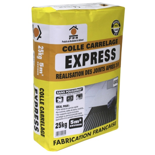 Mortier colle express pour carrelage mur et sol 25 kg - Colle carrelage sol ...
