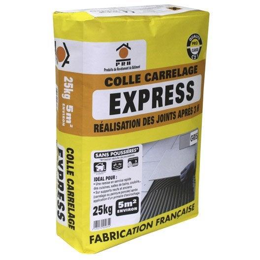 mortier colle express pour carrelage mur et sol, 25 kg, gris