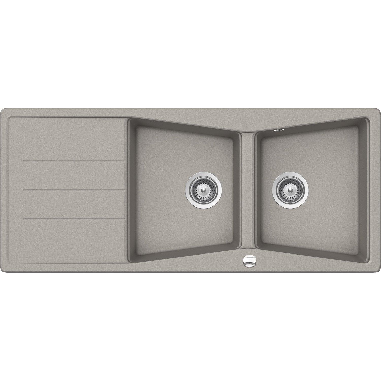 evier encastrer granit et r sine b ton mensa 2 bacs. Black Bedroom Furniture Sets. Home Design Ideas