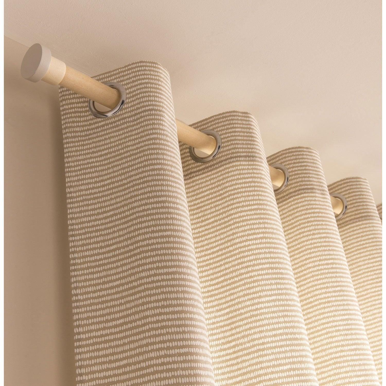 Rideau tamisant, Puntos, beige / blanc, l.140.0 x H.250.0 cm | Leroy ...