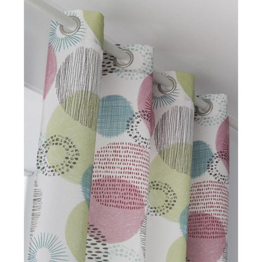 Rideau tamisant, Ronds, rose / multicolore, l.135 x H.250 cm   Leroy ...