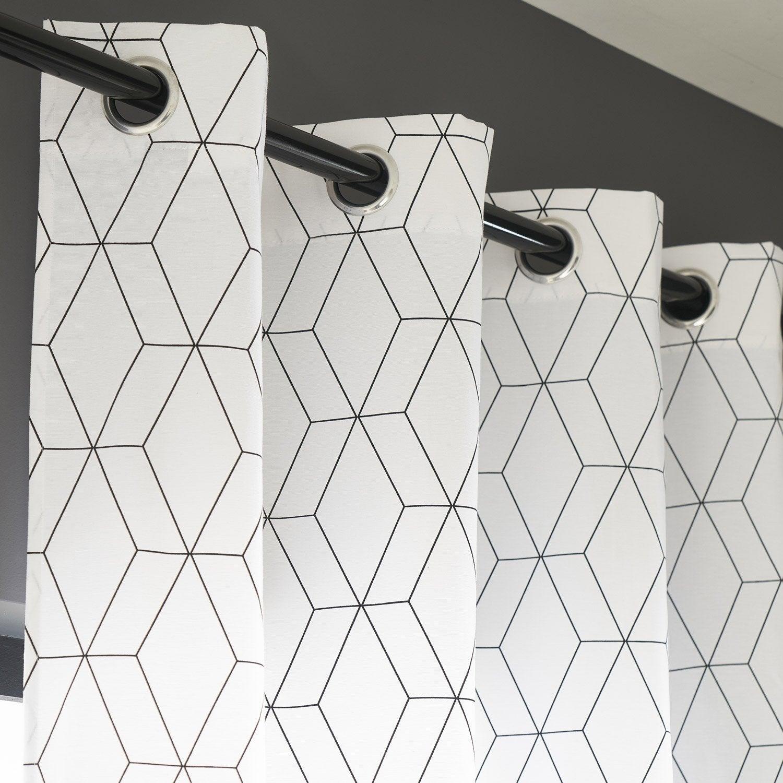 Rideau tamisant, Alex blanc et noir l.140 x H.260 cm