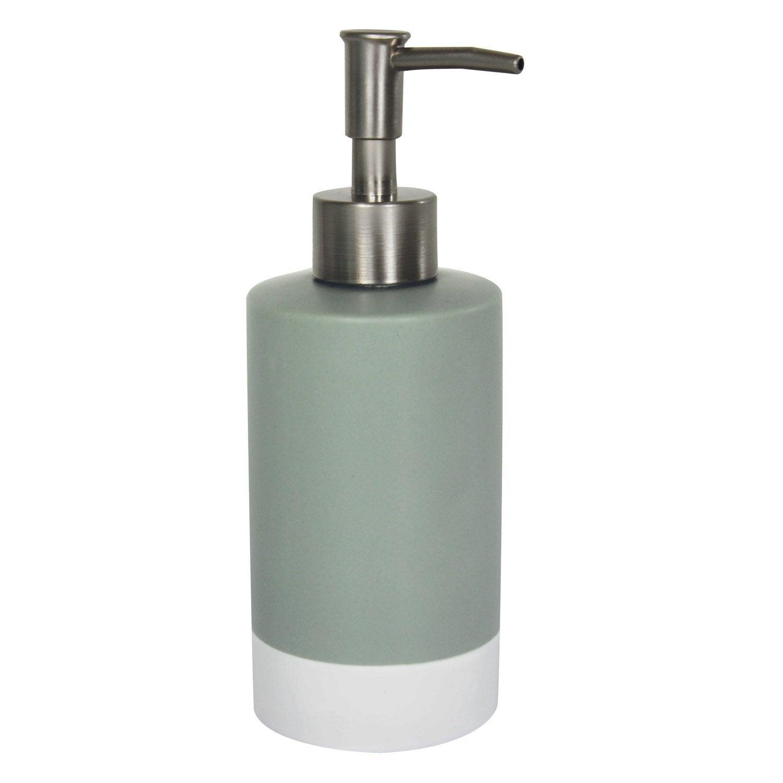 Distributeur de savon céramique brossé blanc gris