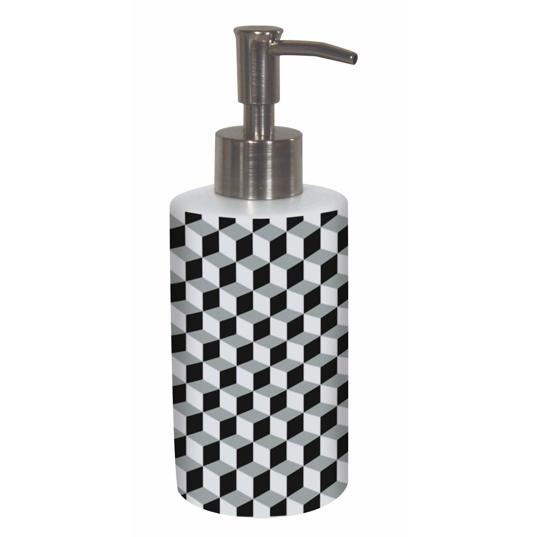 Distributeur de savon céramique brossé noir blanc