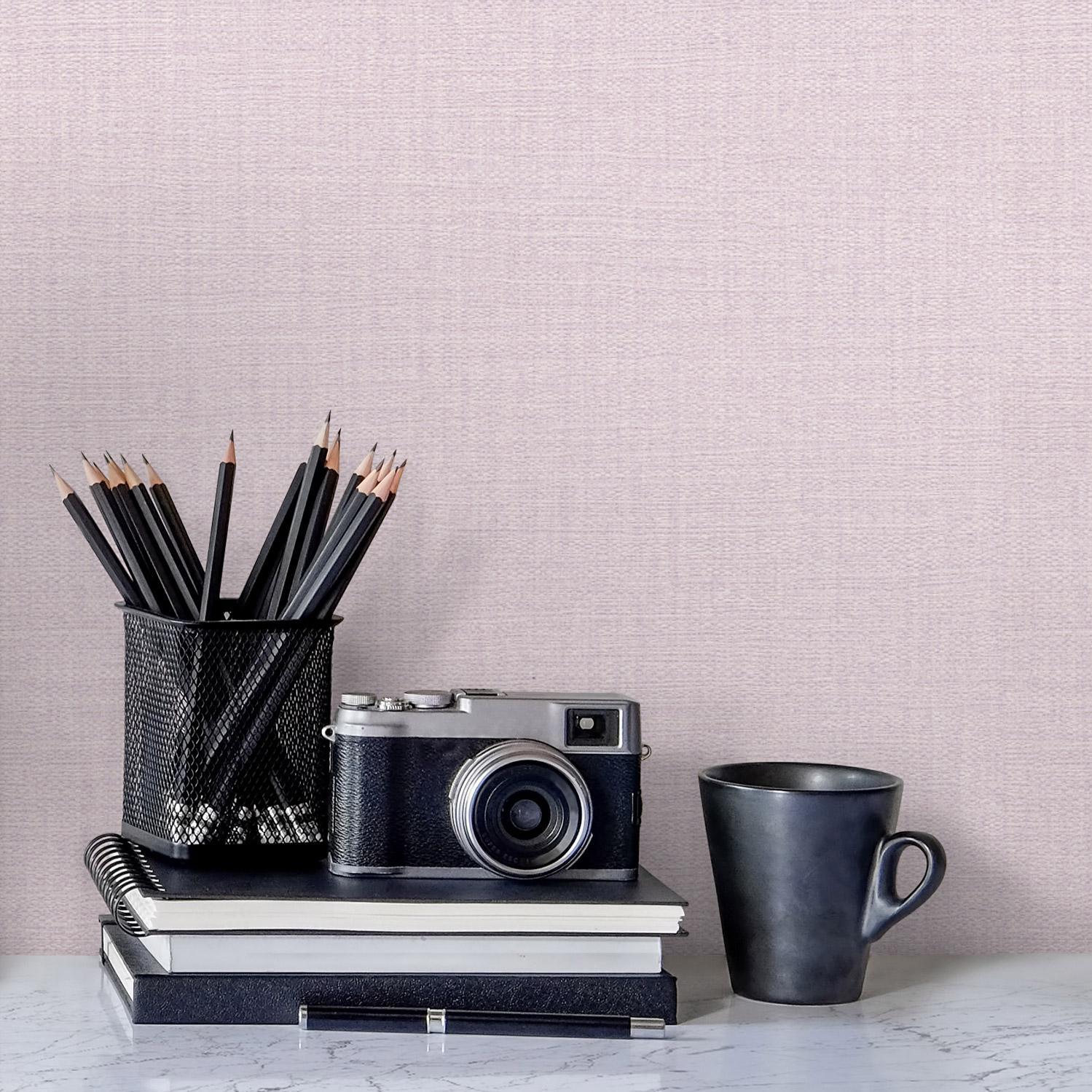 Papier peint vinyle sur intissé Textile nacré violet fog