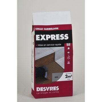 Mortier colle Express pour carrelage mur et sol, 10 kg, gris