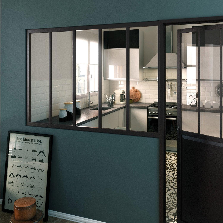 Verri re atelier en kit aluminium noir vitrage non fourni - Verriere en kit ...