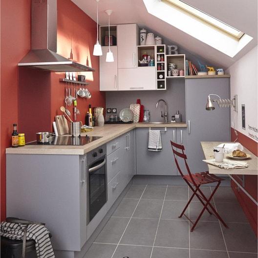 Meuble de cuisine gris DELINIA Délice | Leroy Merlin