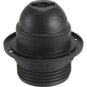 Douille électrique à vis E27 polyester, noir