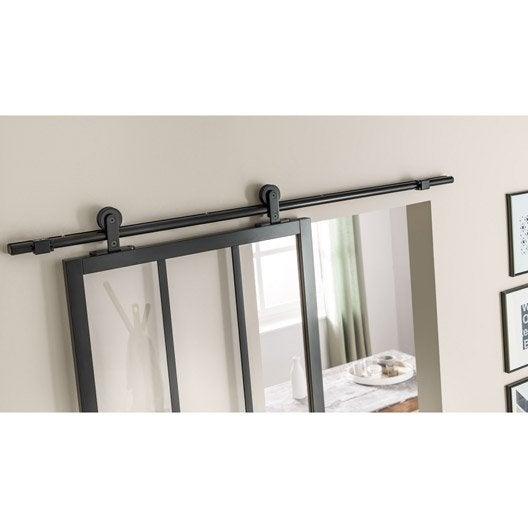 Rail coulissant bolero 2 noir pour porte de largeur 93 cm - Rail pour porte de garage coulissante ...