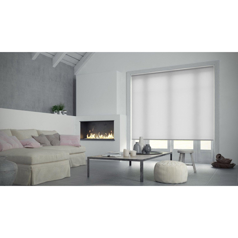 Store enrouleur tamisant, blanc Bilbao, l.45 x 160 cm