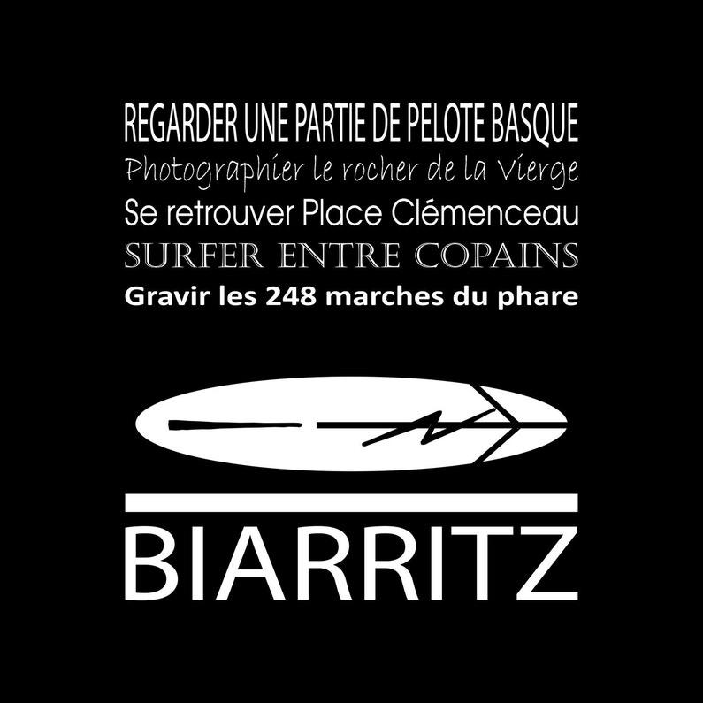Toile Imprimée Biarritz Noir Artis L30 X H30 Cm