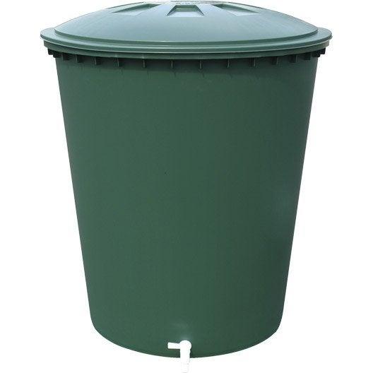 Récupérateur d'eau aérien GARANTIA cylindrique vert , 310 l