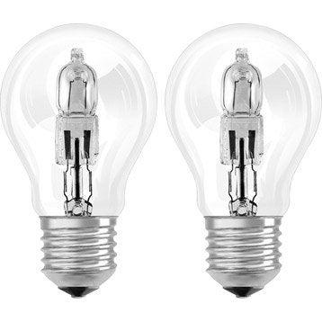 Lot de 2 ampoules standards halogènes 57W = 915Lm (équiv. 75W) E27 2800K OSRAM