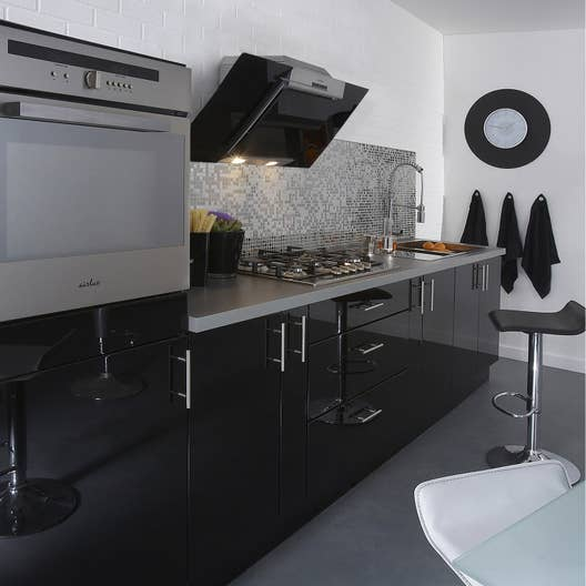 meuble de cuisine noir delinia rio leroy merlin. Black Bedroom Furniture Sets. Home Design Ideas