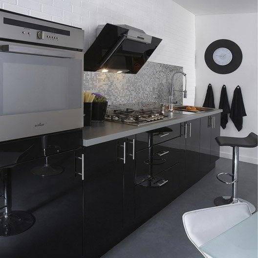 Meuble de cuisine noir delinia rio leroy merlin - Carrelage adhesif cuisine leroy merlin ...
