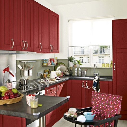 Fabulous Meuble De Cuisine Rouge Delinia Rubis With
