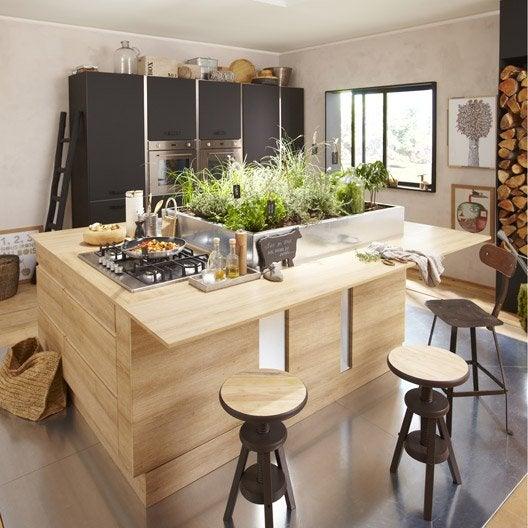 Meuble de cuisine d cor ch ne blanchi delinia graphic - Devis cuisine leroy merlin ...