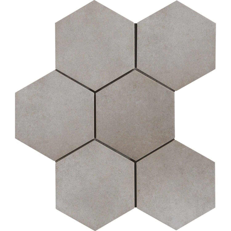 Carrelage sol et mur gris ciment effet béton Time l.21 x L.18 cm
