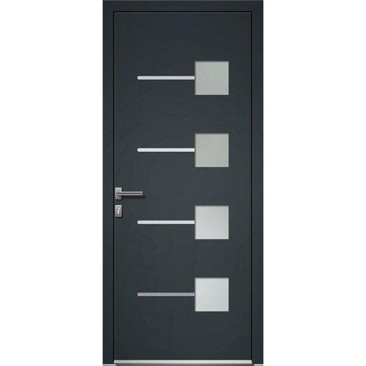 Porte d 39 entr e aluminium soria artens poussant droit x cm l - Porte interieur point p ...