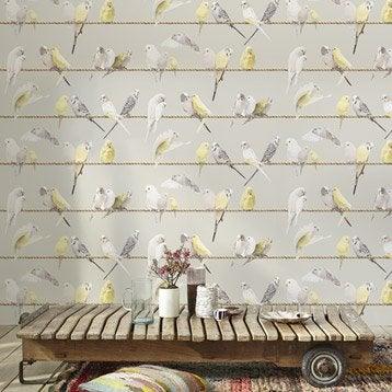 Papier peint intissé Oiseaux fond couleur gris taupe, oiseaux blancs, gris et ja