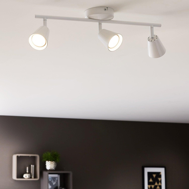 Rampe 3 spots led intégrée, design, métal blanc, INSPIRE Chapo