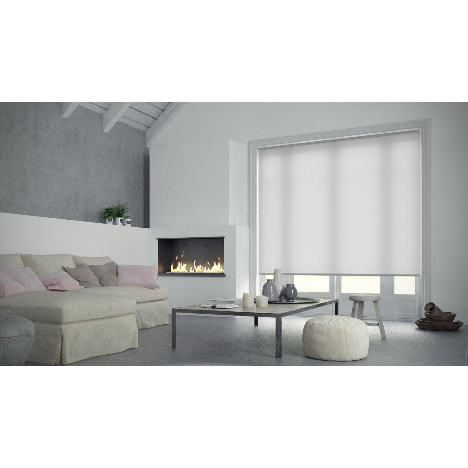 store enrouleur tamisant inspire blanc blanc n 0 150x250 cm leroy merlin. Black Bedroom Furniture Sets. Home Design Ideas