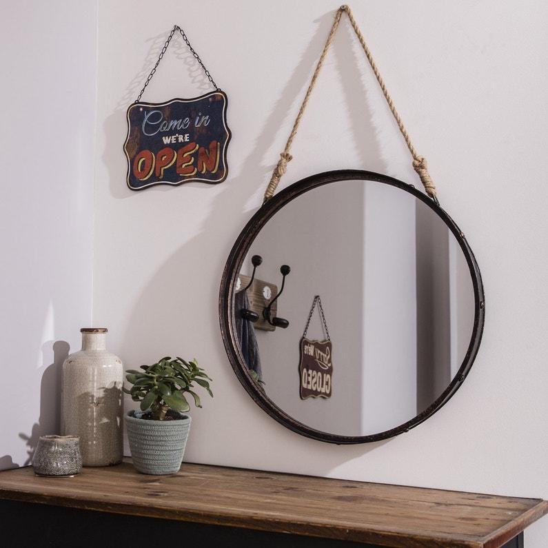 Miroir rond Corde, cuivre, l.51 x H.51 cm