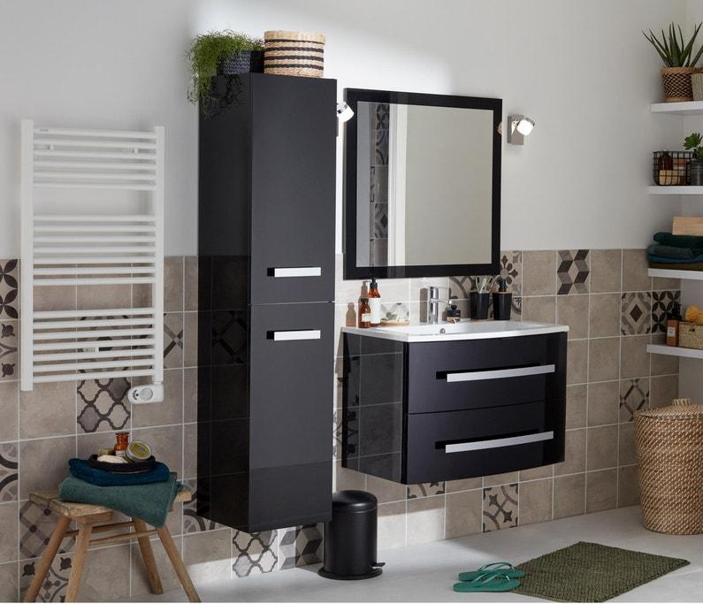 Meuble de salle de bains, Perla, l.81 , noir, Simple vasque | Leroy ...