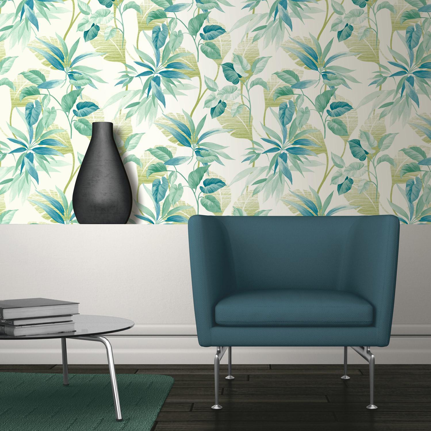 Papier peint vinyle sur intissé Feuillage Tropical vert