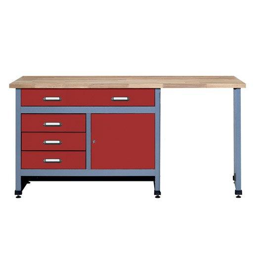 etabli de m canicien kupper 170 cm rouge leroy merlin. Black Bedroom Furniture Sets. Home Design Ideas