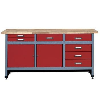 Etabli de mécanicien KUPPER, 170 cm, rouge, 7 tiroirs