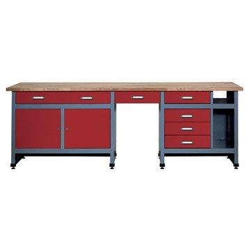 Etabli de mécanicien KUPPER, 240 cm, rouge, 6 tiroirs et 2 portes
